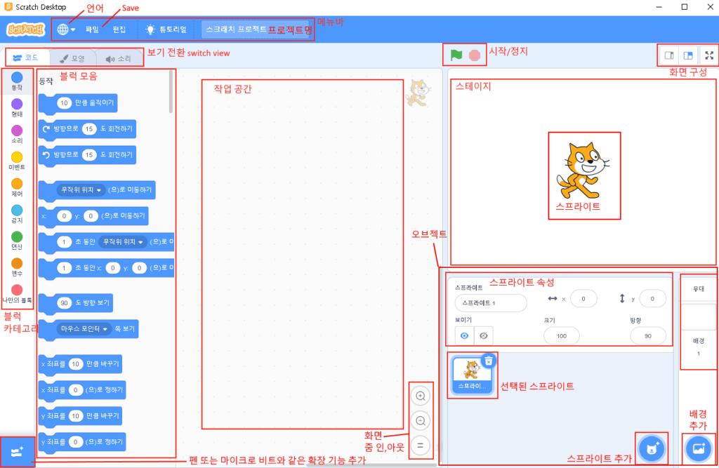 스크래치 3.0 사용법 및 Scratch 3.0 GUI