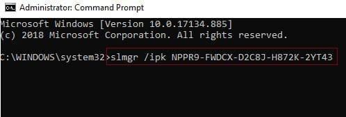 윈도우 10 정품인증 라이센스 키 입력 Ex) slmgr / ipk licensekey