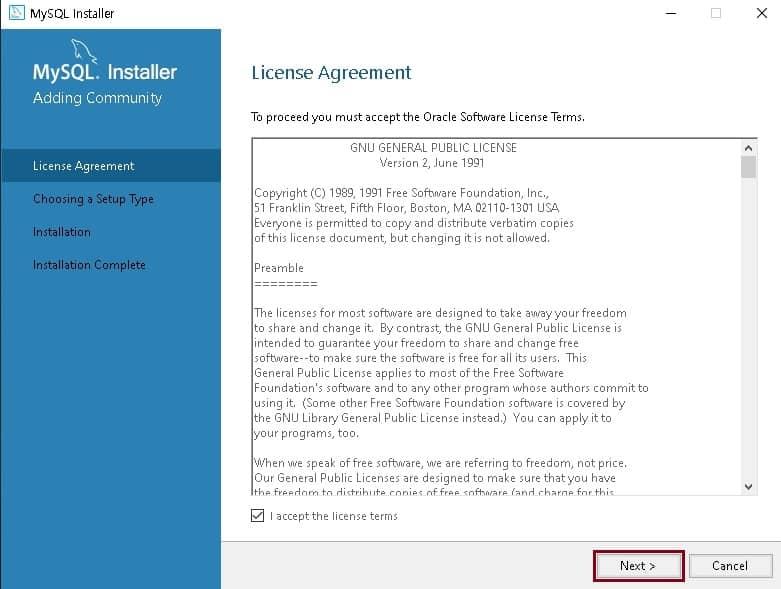 """라이센스 동의 """"i accept the license terms"""" 체크 후 next 클릭"""