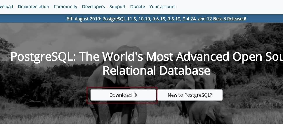 PostgreSQL 공식 홈페이지 접속