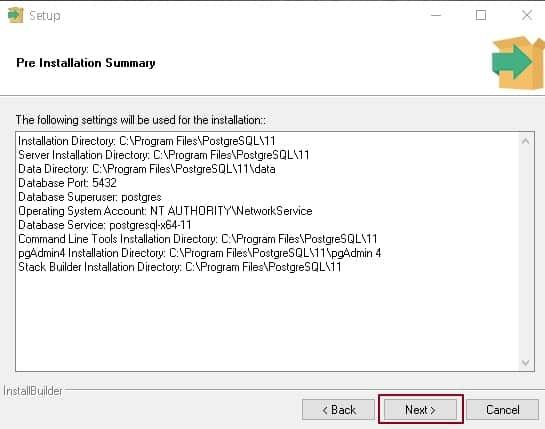 """설치를 진행하면서 설정한 값들을 확인 후 """"Next""""를 클릭"""