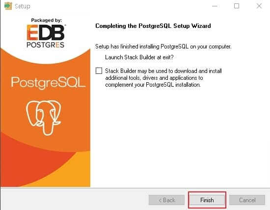 "PostgreSQL 설치 완료 ""Finish"" 버튼을 클릭"
