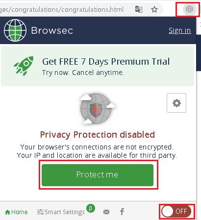 Protect me 버튼 또는 우측 하단에 ON/OFF 토글스위치 사용