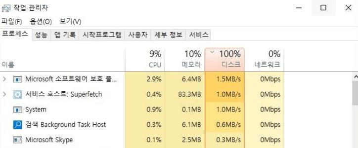 윈도우 10 디스크 100퍼 활성화 문제 해결 방법