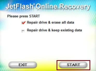 Repair drive & erase all data 체크 및 START