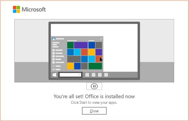 MS Office 365 설치 완료