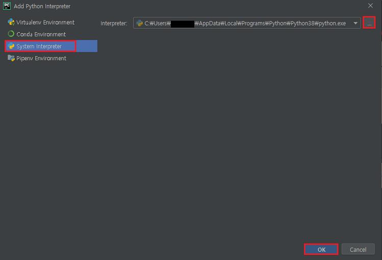 시스템 인터프리터에서 python.exe 설치 경로 설정 후 OK 클릭